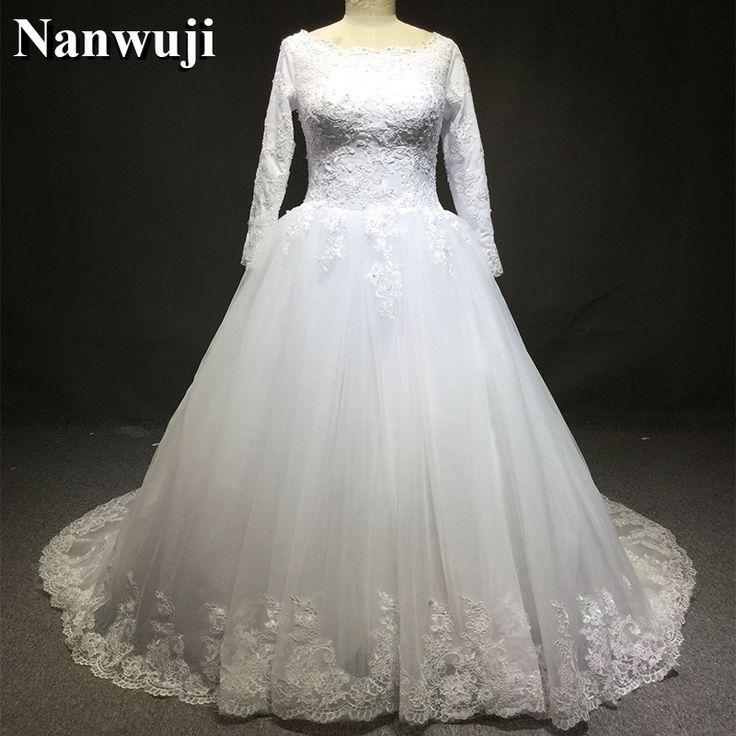 2017 Muslim Traditional Wedding Dress Long Sleeves Zipper Back Lace Appliques Robe De Mariage Wedding Dresses vestidos de novia