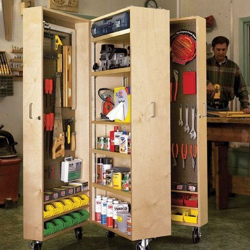 Built In Storage Cabinet Plans: View A Larger Image Of Woodworking Project Paper Plan To