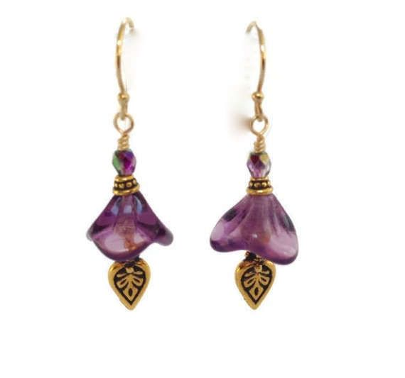 Purple Flower Earrings Colorful Gold Filled by SRyanJewelryDesigns