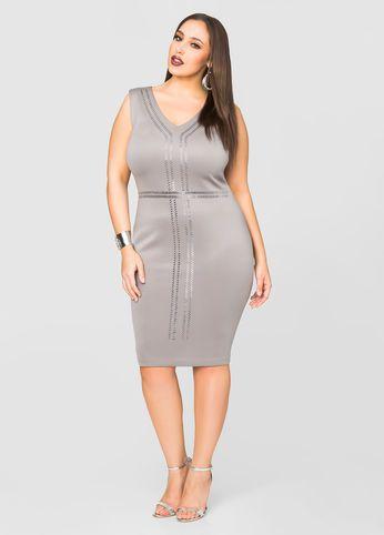 Stud Front Scuba Sheath Dress
