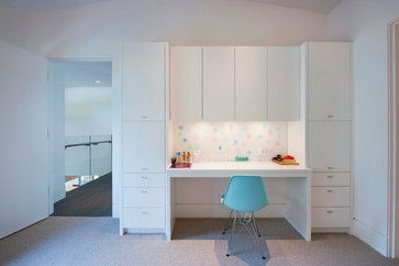 if you prefer the kids desks and storage could look like this with doors on and open hanging and drawers for clothes plus few shoe cubbys beside