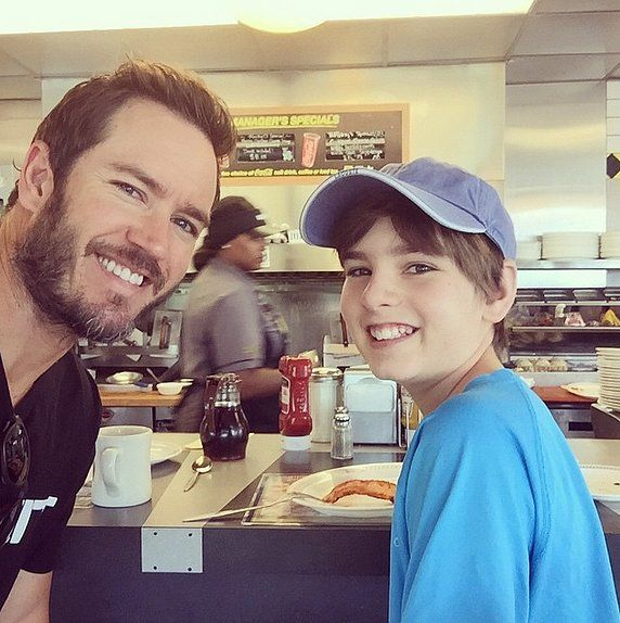 "Mark-Paul Gosselaar shared an adorable selfie with his son in June 2015, writing, ""Welcome to Mississippi, son! First stop . . . Waffle House. Got to start the day off right."""