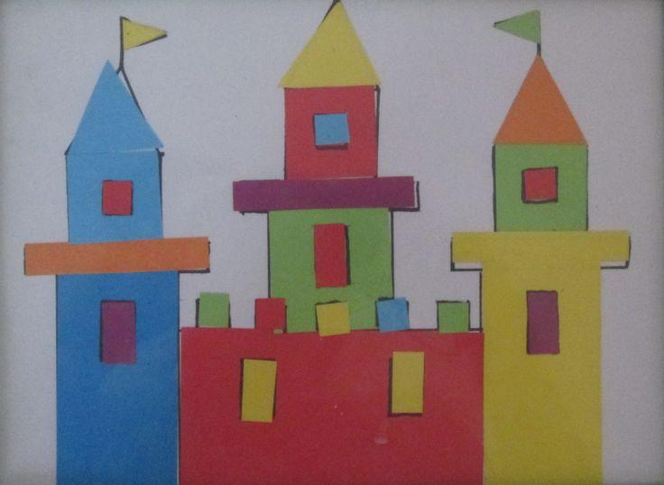 Lepíme hrad, učíme se barvy a tvary.
