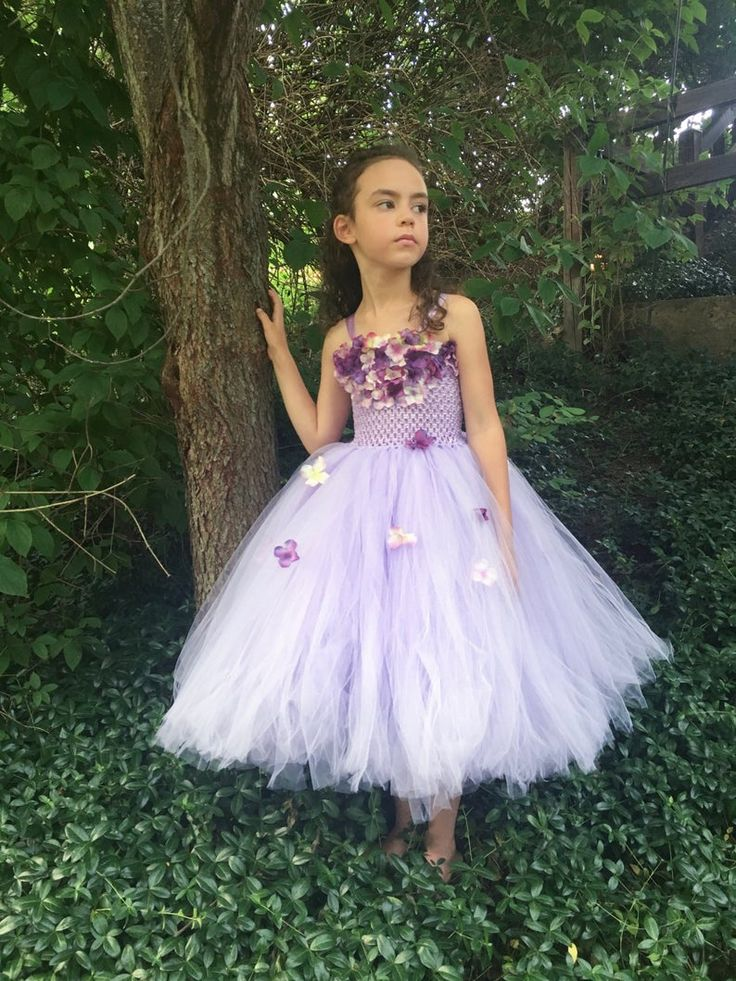 Lilac couture tulle flower girl dress lavender junior
