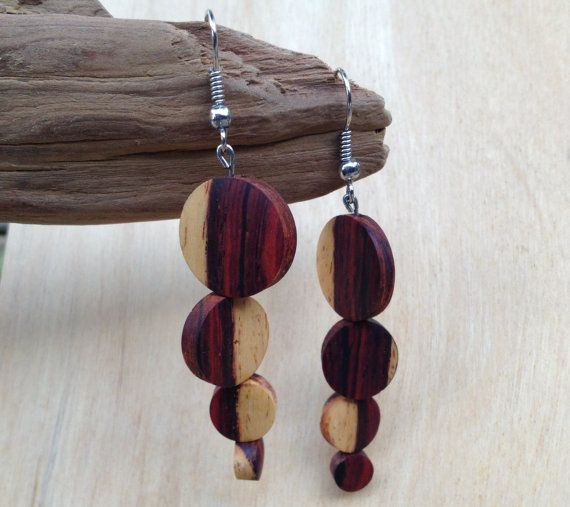 Cocobolo wood tapered drop earrings