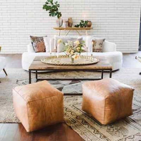 Square Pouf Set Of 2 Moroccan Pouf Leather Pouf Ottoman Pouf Handmade Pouf Footstool In 2021 Living Room Pouf Moroccan Leather Pouf Leather Pouf Ottoman