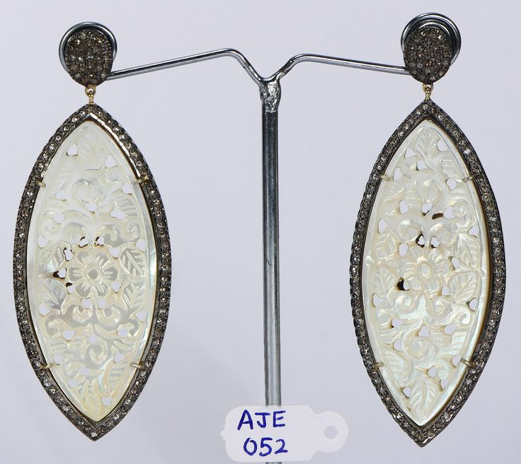 Victorian Handmade Women Carved Oxidized Earrings 14ktGold .925SterlingSilver Pave Diamonds & Mother of Pearl Gemstone by AcmeJewels on Etsy
