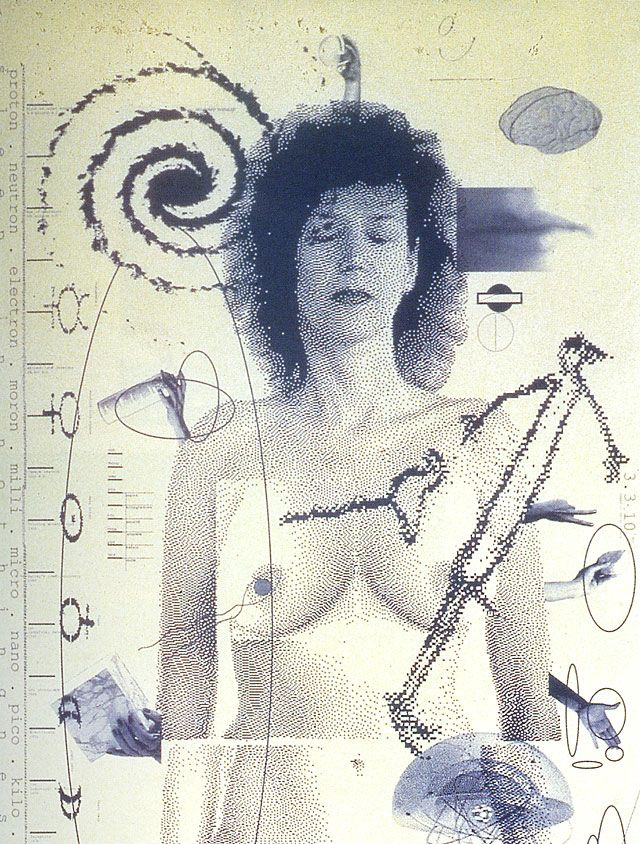 April Greiman, graphic imagery for Design Quarterly, no. 133, 1987. This poster composed of digitized images was output by a low-resolution printer.
