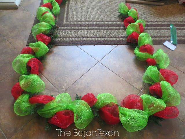 The Bajan Texan www.bajantexan.blogspot.com DIY Deco Mesh Garland (Holiday Decor Series)The Bajan Texan www.bajantexan.blogspot.com