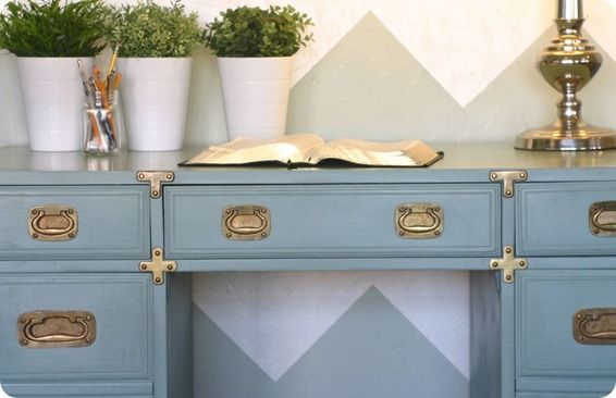 Light blue with brass , love    drexel heritage desk makeover becauseiliketodecorate