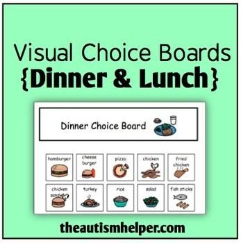 A visual choice board is a quick and easy way to provide children with limited communication skills the ability to express their wants and needs. This set contains a choice board for lunch and dinner each with 20 options.  by theautismhelper.com