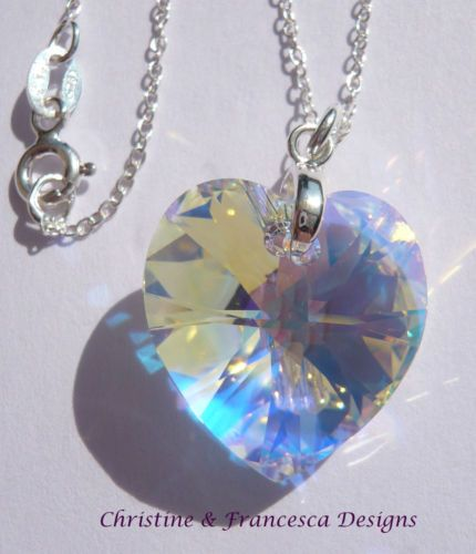 """♥ Beautiful multi colour effect crystal ♥ .925 Sterling Silver CRYSTAL AB 18mm size Crystal Heart Pendant Chain Necklace made with SWAROVSKI ELEMENTS crystal ~ 16"""" inch or 18"""" inch length chain + Gift Box & Organza Gift Bag ~ by Christine & Francesca Designs ---- #handmade #handcrafted #jewellery #necklace #bridal #bridesmaid #wedding #silver #heart pendants #pendant #love"""