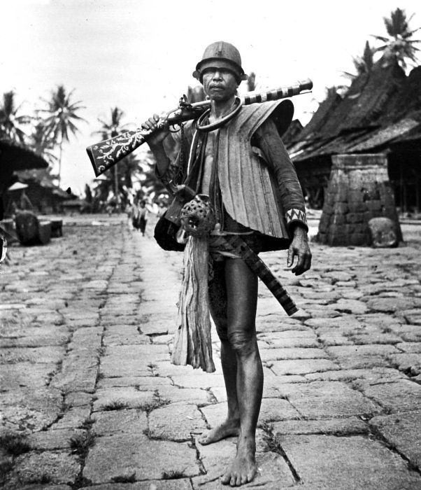 Sheet metal armor used by natives on the Indonesian island of Nias. Thin handmade armor was used to repel enemy arrows during the many civil wars fought amongst the islands inhabitants.