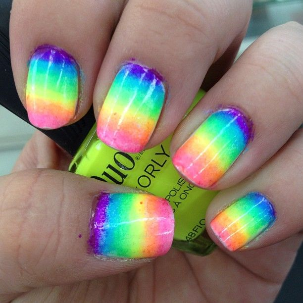 This rainbow nail art puts a twist on the traditional French manicure.  Check out all of the best rainbow nail designs. - 94 Best Neon Nail Art Images On Pinterest Neon Nail Art, Neon