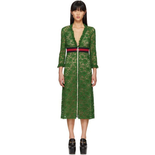 Gucci Green Lace Dress ($3,125) ❤ liked on Polyvore featuring dresses, green, v neck cocktail dress, lace ruffle dress, v neckline dress, 3 4 sleeve lace dress and green dress