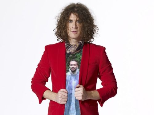 The Killers' guitarist, Dave Keuning, sporting the Brandon Flowers, in a Plastic Poncho T-shirt.