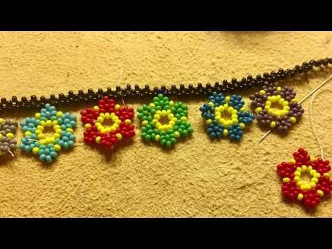 flower beads, kum boncukla Çiçek yapımı - YouTube