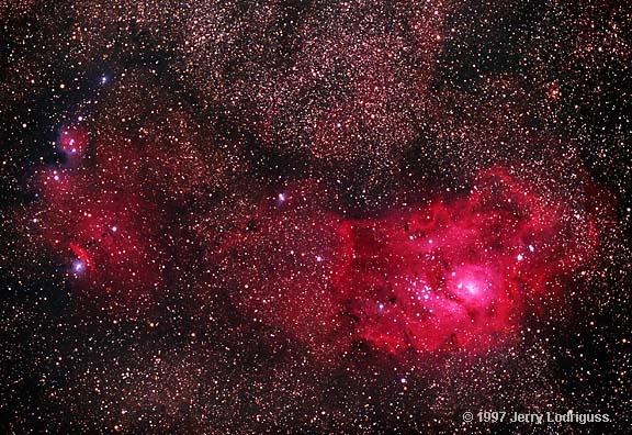 """Lagoon Nebula. (Photo: Jerry Lodriguss) A stellar nursery in the constellation Sagittarius, the perfect venue for celestial sailing. It was discovered by French astronomer Guillaume Le Gentil in 1747. ©Mona Evans, """"Night Sky Olympics"""" http://www.bellaonline.com/articles/art41582.asp"""