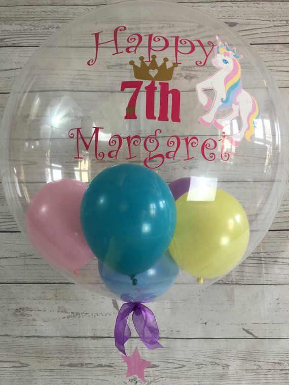 Personalised Unicorn Theme Birthday Balloon Bespoke 7th Custom In A Box Inflated