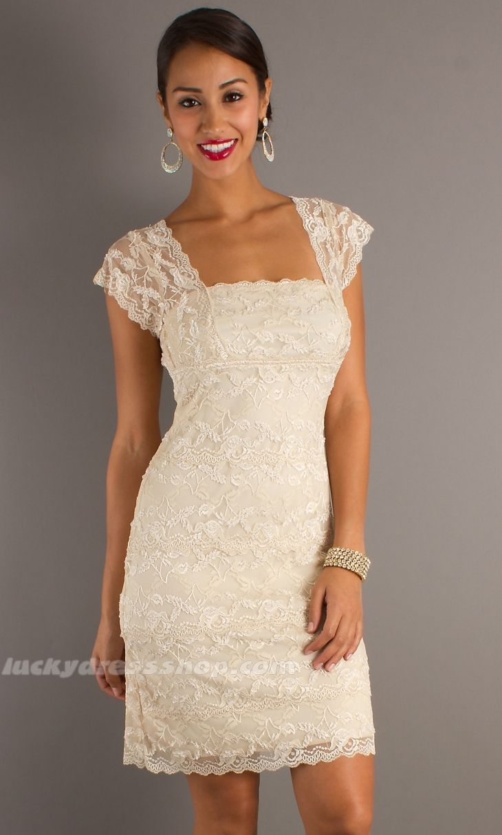 lace clothing for women   Ivory Sheath/Column Lace Women Dress With Lace And Short Sleeve ...