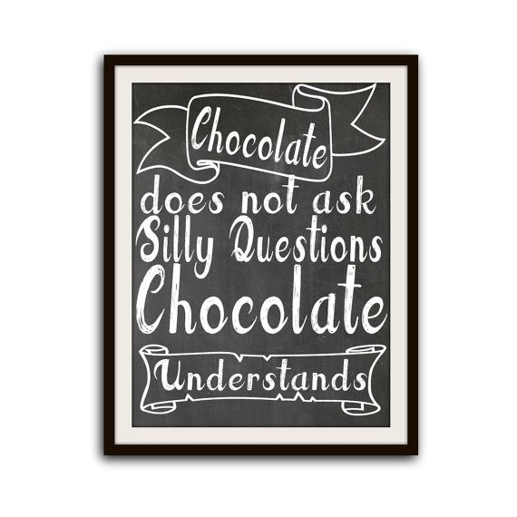 Funny Kitchen Art Chocolate Typography Poster