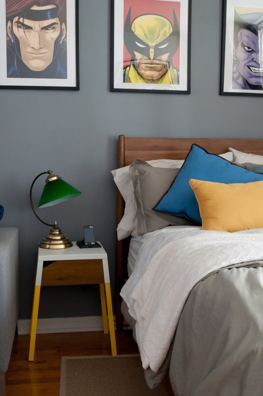 Yellow dip idea for headboard?  Painted Mid-Century Modern Nightstand. All you need for this hack is the Selje nightstand and paint… just grab a couple of colors that correspond with your decor and go crazy! Found at Apartment Therapy.