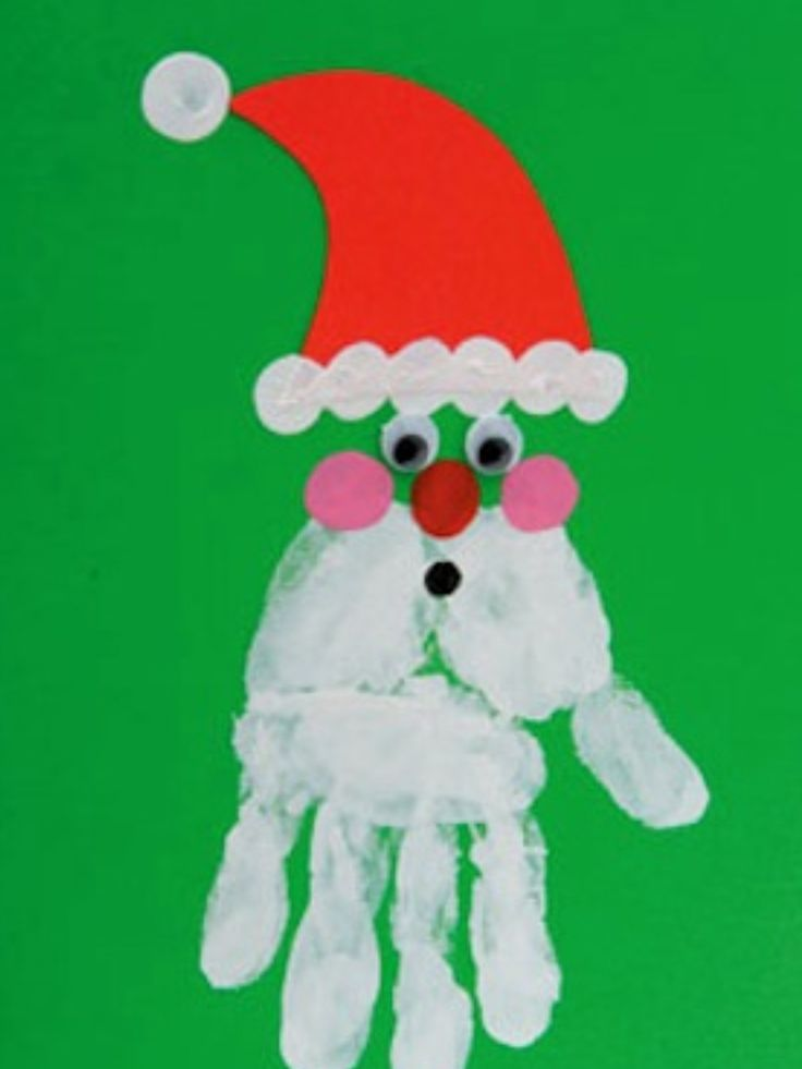 This is a really cute Santa. It's special because of the personal hand print. After an upside down handprint, you make 3 rosy cheeks with finger prints, a little mouth, a red nose, 2 eyes, and his hat. See easy as can be