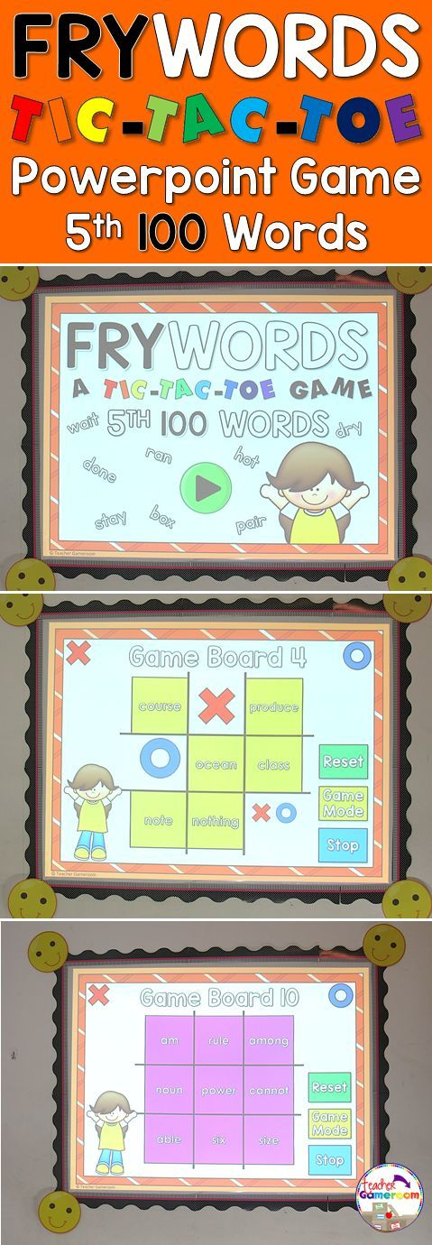 """In this tic-tac-toe powerpoint game, students read the 5th 100 fry word and place their """"X"""" or """"O"""". There are 12 game boards, each with 9 fry words from the 5th 100 fry words set. Great for Kindergarten, 1st, and 2nd grade. Common Core aligned!"""