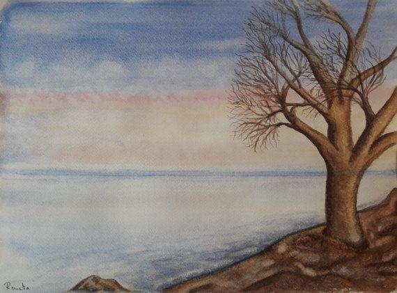 Aquarel Schilderij Winter Landschap met Boom aan door SeadbeadyArt