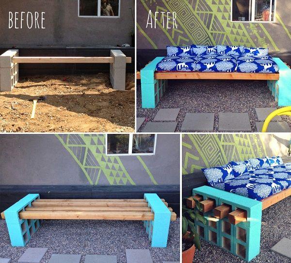 DIY Simple Outdoor Seating.. cinderblocks and 4x4's