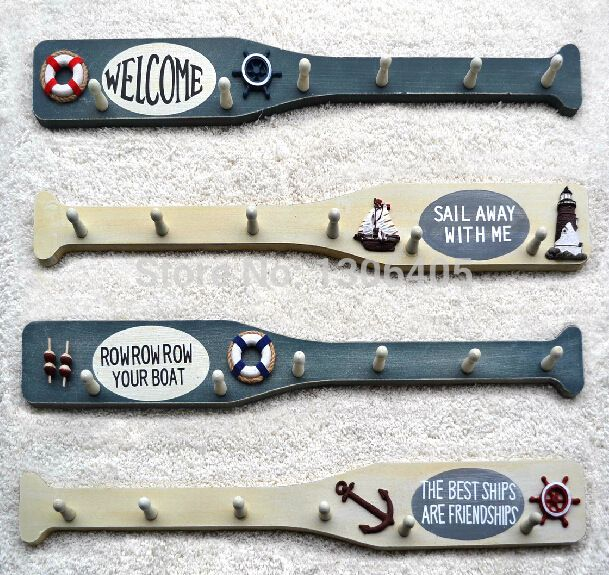 zakka Mediterranean Marine Oars Sailor Creative Wooden Hangers Wall Decorative Hooks