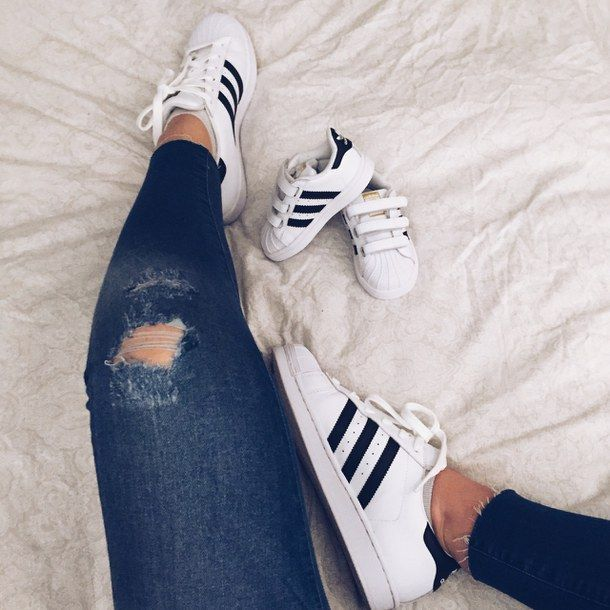 adidas, baby, bed, child, feet, mom, mother, shoes, sneakers, stripes, superstar, toddler