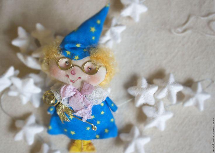 Купить Текстильная кукла Волшебник - голубой, текстильная кукла, елочная игрушка, волшебник, подвесная игрушка