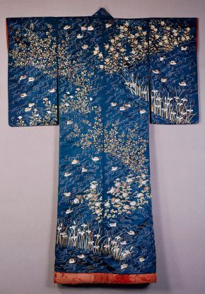 Kimono, Japan, 1820-60, satin silk known as shu, embroidered in silk & metallic thread with decoration of ducks on rippling water amongst irises and pinks. Museum no. T.79-1927, © Victoria and Albert Museum, London