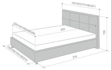 Габаритные размеры кровати Elisa