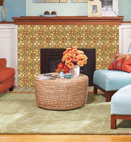 Ceramic tile featuring a bold, decorative design transforms your fireplace…