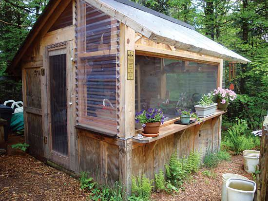 Wooden pallets can be reassembled into a number of different structures, such as this charming potting shed.
