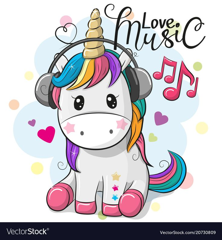 Unicorn with headphones on a blue background vector image on