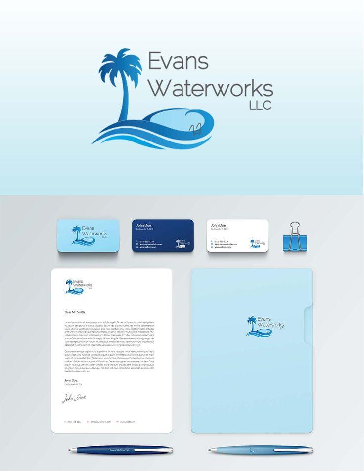 Pool Company Logo and Brand Identity | Tropical Logo Design  Designed by @creativelightningmarketing