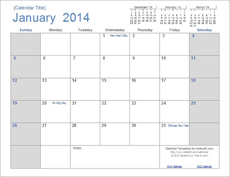 A new calendar design for 2014 download and edit in for Calendar template by vertex42 com
