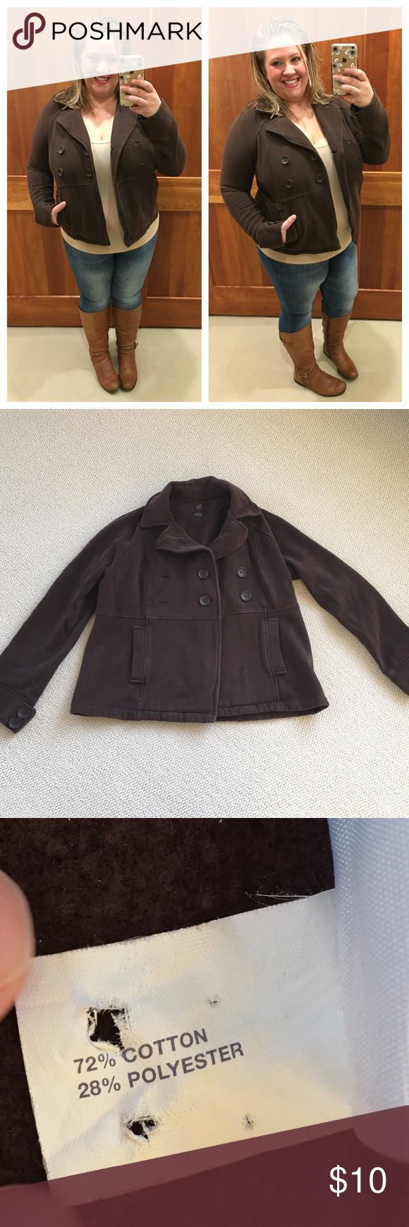 Chocolate Brown GAP Jacket Pre-loved (no rips/tears/stains but interior pilling throughout...price reflective of wear), 4 front peacoat-style buttons. 2 front pockets. Soft and cozy. Size L. GAP Jackets & Coats