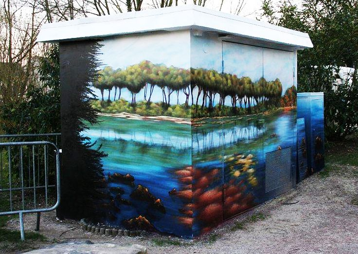 Wall in L'Isle Adam (France) / #sunrise #art #streetart #sketch #fredml #wall #orange #blue #tree