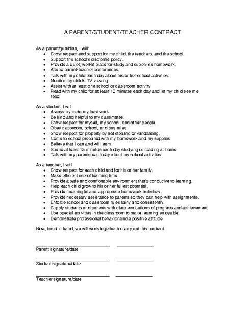 Education world parent student teacher contract template for Student contracts templates