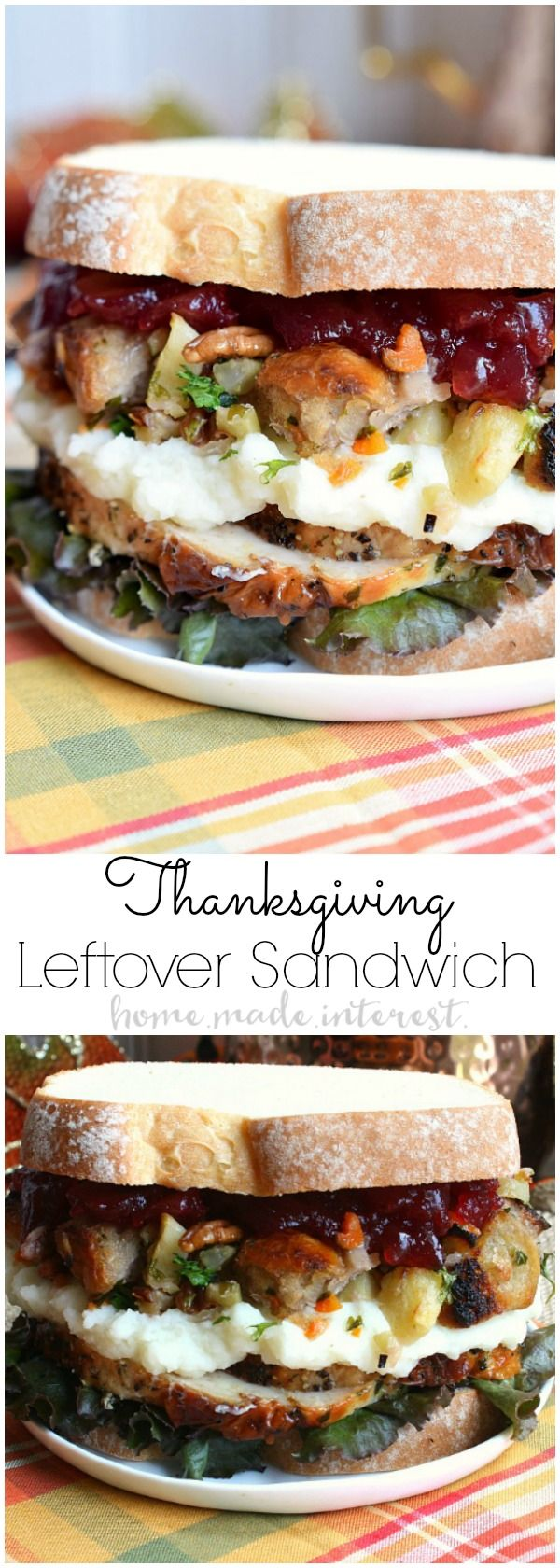Thanksgiving recipes are amazing but what do you do with all of those leftovers? This Thanksgiving Leftovers Sandwich is layers of turkey, mashed potatoes, cranberry sauce and stuffing all between two slices of bread. Turn your favorite Thanksgiving recipes into this awesome thanksgiving leftovers recipe!