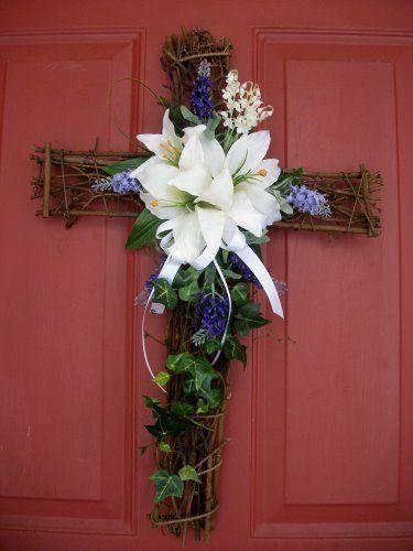 "Spring/Easter Cross Wreath - 16""x24"" by Silkmama.com, http://www.amazon.com/dp/B00B6EOY9M/ref=cm_sw_r_pi_dp_Msebrb0W5CVT1"