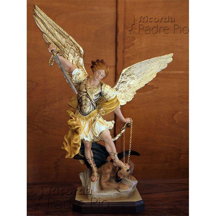Statua San Michele Arcangelo Resina col. 60cm www.ricordapadrepio.it