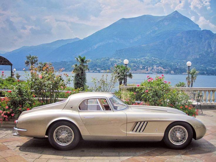"The legendary 1954 ""Ingrid Bergman"" Ferrari 375 MM Berlinetta Coupé Speciale parked in front of the Grand Hotel Villa Serbelloni, Bellagio,"