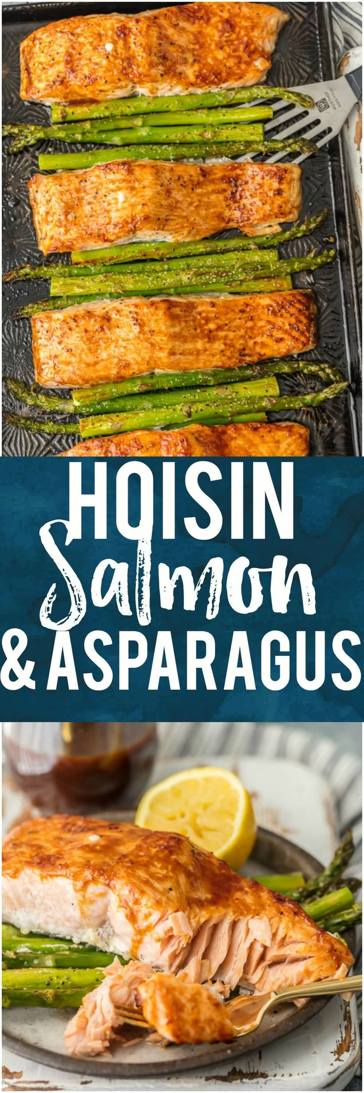 This HOISIN SALMON AND ASPARAGUS RECIPE has it all! It's a simple and healthy seafood recipe made entirely on ONE SHEET PAN. So much flavor and so little prep/cleanup. So much to love about this sheet pan glazed salmon. #seafood #healthy #salmon #sheetpan