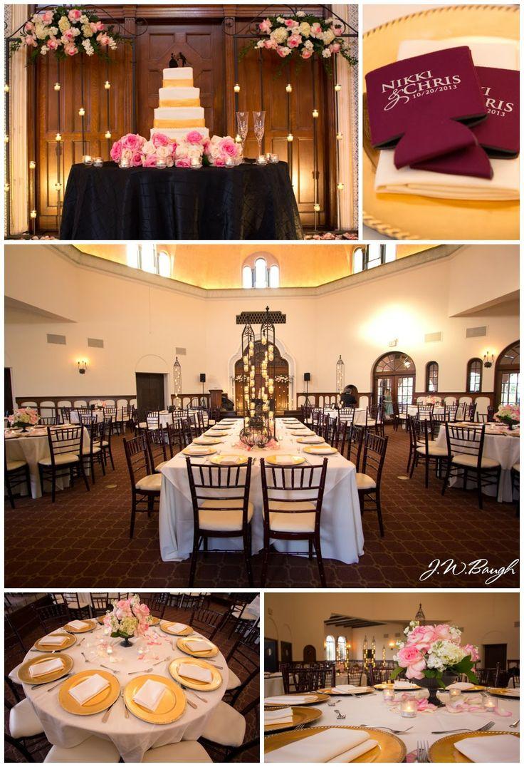 Wedding decor maroon  The Parador  Houston wedding photography  MD Turner Photography