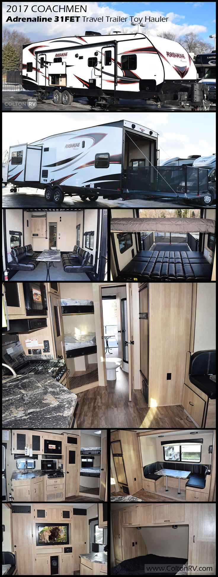 Enjoy this COACHMEN ADRENALINE 31FET Travel Trailer TOY HAULER featuring 10' of cargo space for your favorite outdoor toys, sleeping for 6-9 and all of the amenities you need to keep everyone clean, fed and having fun!!